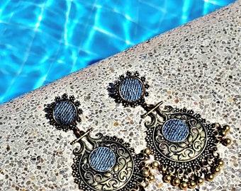 Denim Earrings- Bohemian inspired Round post pendant gold plated Jean