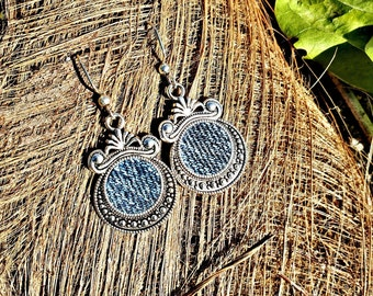 Silver antique round cameo Denim Jean Earrings