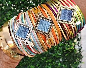 Leather Bracelet- Layered multi color zipper trimmed pendant