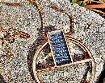 Denim Necklace- 1.75 inch Round Cutout Medallion Denim Pendant on chain