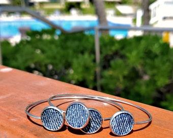 Denim Bangle Bracelet- 12mm round  pendant stainless denim jeans