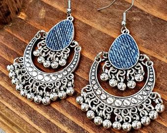Denim Earrings- Bohemian inspired drop pendant Jean