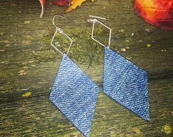 Drop Diamond Denim Jean Earrings