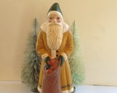 Folk Art Chalkware Large Belsnickle Santa from Chocolate Mold Mustard Coat CUSTOM ORDER