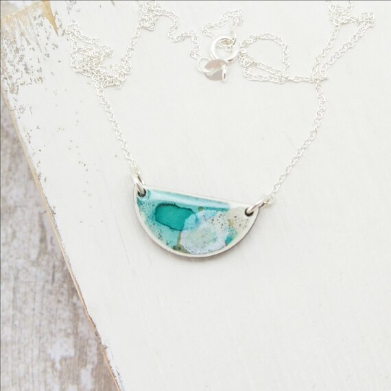 Handmade semi-circle pendant necklace with watercolour print on sterling silver chain - Aqua.