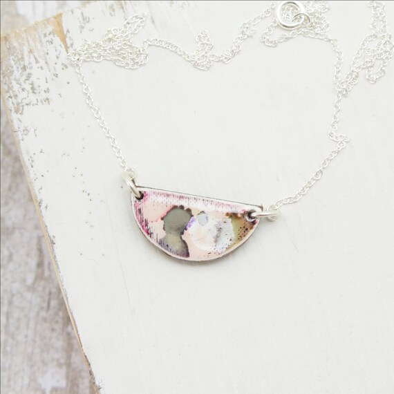 Handmade semi-circle pendant necklace with watercolour print on sterling silver chain - blush.