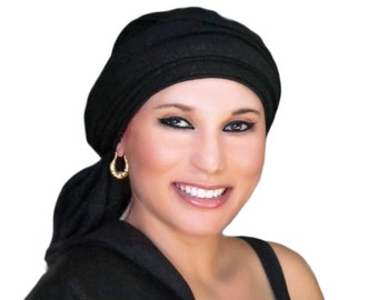 Turban Black Gold Head Wrap, Alopecia Scarf, Chemo Hat, Dreads wrap, Bohemian Gypsy Turban, One Piece Fitted, Jersey Knit