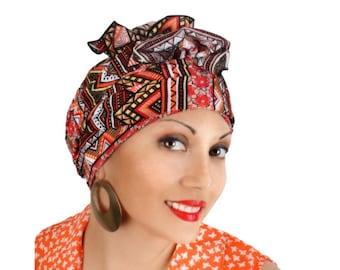Aztec Tribal Head Wrap Turban Chemo Alopecia Scarf, Orange Red Black Yellow Coral, Hat & Scarf Set