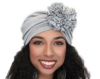 Turban Diva Flower Turban, Chemo Hat, Sleep Hat, Alopecia Cap,  Rayon Knit, Pre-tied Turban, Light Heather Gray Turban 300-01