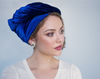 Turban Diva Blue Velvet Turban, Head Wrap, Chemo Hat, Alopecia Scarf, Hijab, One Piece Fitted Wrap 332-08