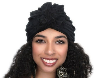 Turban Diva Flower Turban, Chemo Hat, Sleep Hat, Alopecia Cap,  Rayon Knit, Pre-tied Turban, Black Turban 300-03