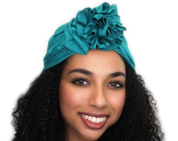 Turban Diva Emerald Teal Flower Turban, Chemo Hat, Sleep Hat, Alopecia Cap,  Rayon Knit, Pretied Turban 300-13