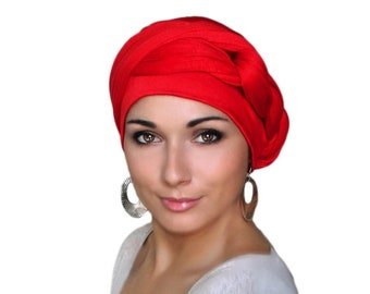 Turban Diva Red Turban Dreads Wrap, Jersey Knit, Head Wrap, Alopecia Scarf, Chemo Hat, Boho Gypsy Tribal, One Piece Fitted Wrap