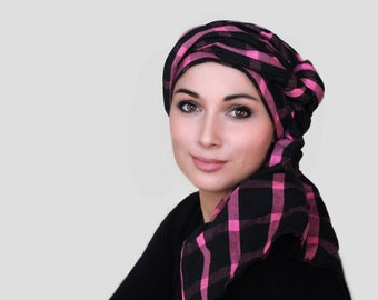 RETIREMENT SALE Turban Diva Pink Black Plaid Turban Head Wrap, Chemo Hat, One Piece Wrap, Fitted Turban