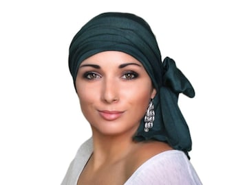 Turban Diva Turban Head Wrap Alopecia Chemo Head Scarf Forest Green Jersey, Hat & Scarf Set, Gift for Her