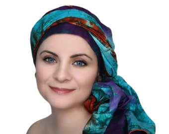 Rust Purple Turquoise Turban Dreads Wrap, Batik Head Wrap, Alopecia Scarf, Chemo Hat, Boho Gypsy Tribal, One Piece Fitted Wrap