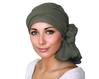 Turban Diva Olive Green Cotton Gauze Turban Hat, Head Wrap, Chemo Hat, Alopecia Scarf, Army Green Turban, Hat & Scarf Set