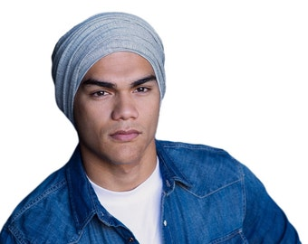 Man's Turban, Man's Head Wrap, Dreads Wrap, Ski Hat, Motorcycle Scarf, Light Gray, Gifts for Men, Tactical Scarf