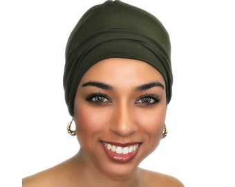 Dark Olive Chemo Hat, Sleep Hat, Alopecia Cap, Scarf Liner, Slouch Hat, Jersey Knit