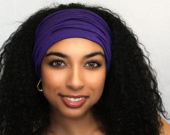 Purple Turban Head Band, Yoga headband, Wide Headband, Exercise Headband, Pretied Turban 298-39a