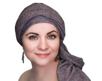 Turban Diva Plum Heather Turban, Purple Turban, Jersey Knit Head Wrap, Chemo Hat, Alopecia Scarf, Hijab, One Piece Wrap