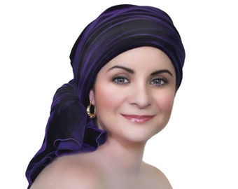 Turban Diva Purple Velvet Turban, Head Wrap, Chemo Hat, Alopecia Scarf, Hat & Scarf Set