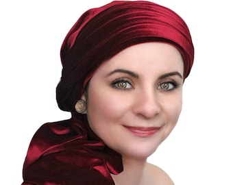 Turban Diva Burgundy Velvet Turban, Head Wrap, Chemo Hat, Alopecia Scarf, Hijab, One Piece Fitted Wrap