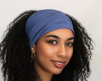 Headband, Smoky Blue, Denim Blue Turban Head Band, Yoga headband, Wide Headband, Exercise Pretied Turban