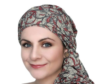 Gray Black Red Floral Turban, Chemo Hat, Head Wrap, Alopecia Scarf, Dreads wrap, Hijab, One Piece Fitted, Jersey knit