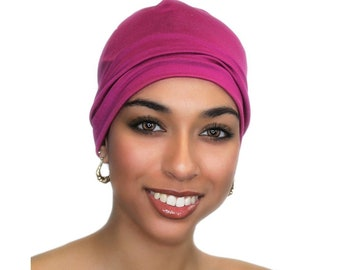 Fuchsia Chemo Hat, Sleep Hat, Alopecia Cap, Cloche, Scarf Liner, Slouch Hat, Hot Pink, Modal Knit, Ladies' Beanie