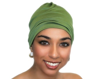 Olive Green Chemo Hat, Sleep Hat, Alopecia Cap, Scarf Liner, Slouch Hat, Jersey Knit