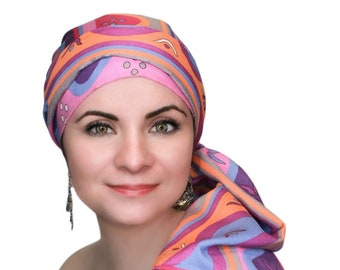 Fiesta Pink Turban Hat Chemo Hat Head Wrap Alopecia Scarf Cancer, Boho, Pink Purple , Hat & Scarf