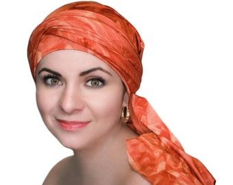 Rust Marble Chemo Hat, Rust Turban, Jersey Knit Head Wrap, Dreads Wrap, Alopecia Scarf, One Piece Fitted Wrap