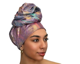 Golden Sun Turban Dreads Wrap, Head Wrap, Alopecia Scarf, Chemo Hat, Boho Gypsy Tribal, One Piece Wrap, Cotton Turban
