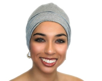 Chemo Hat, Sleep Hat, Alopecia Cap, Cloche, Scarf Liner, Slouch Hat, Sweatshirt Gray, Heather Gray