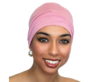 Chemo Hat, Sleep Hat, Alopecia Cap, Cloche, Scarf Liner, Slouch Hat, Rose Pink, Modal Knit