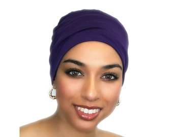 Chemo Hat, Sleep Hat, Alopecia Cap, Scarf Liner, Slouch Hat, Pretied Turban, Purple Beanie