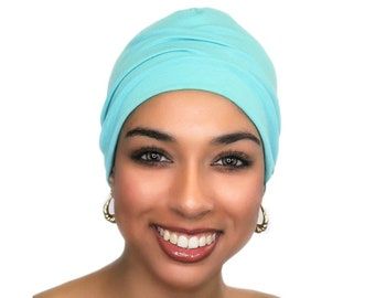 Chemo Hat Sleep Hat Alopecia Cap, Scarf Liner, Slouch Hat, Aqua, Turquoise, Rayon Knit, Beanie Hat