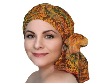 Turban Diva Moroccan Dream Chemo Turban Hat Set, Orange Red Green Batik Head Wrap, Alopecia Scarf, Chemo Hat, Cancer Hat & Scarf Set