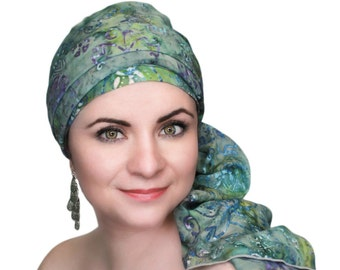 Turban Diva Tranquility Batik Floral  Chemo Hat,Turban Hat Set, Blue, Gray, Green, Purple Alopecia Scarf, Hat & Scarf Set, Gift for Her