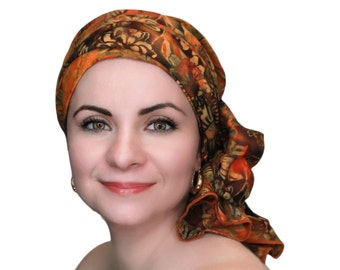 Turban Diva Sunflower Batik Floral Turban Hat Set, Chemo Hat, Rust, Gold, Brown, Orange, Alopecia Scarf, Gift for Her
