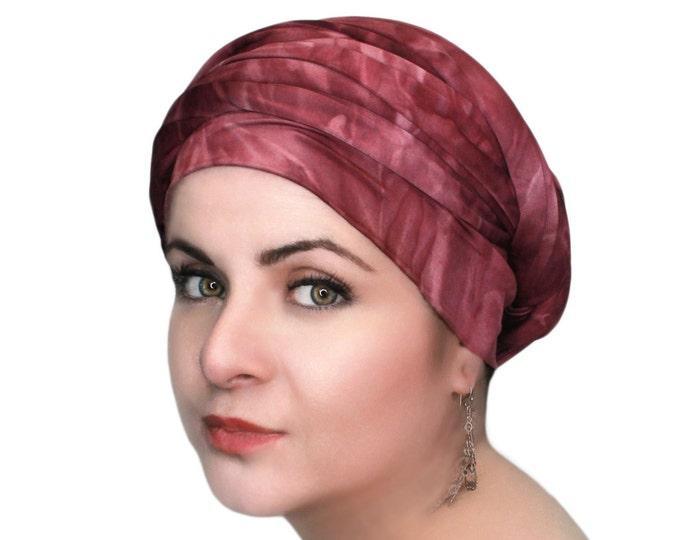 RETIREMENT SALE Save 50% Turban Diva Wine Turban, Burgundy Tie Dye, Head Wrap, Dreads wrap, One Piece Wrap, Fitted Turban Jersey knit