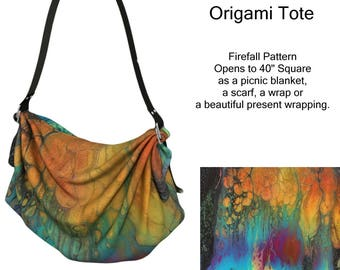 Origami Bag Firefall Pattern, Purse, Wearable Art, Lap Blanket, Shawl, Scarf, Picnic Blanket, Orange, Gold, Teal, Blue, Red, Diaper Bag