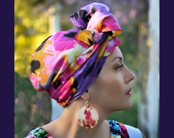 Turban DivaTurban, Chemo Hat, Head Wrap, Alopecia Scarf, Hat & Scarf Set, Purple Pink Yellow Black Floral