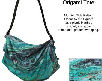Origami Bag, Morning Tide Pattern, Purse, Wearable Art, Lap Blanket, Shawl, Scarf, Picnic Blanket, Teal, Blue, Turquoise, Diaper Bag