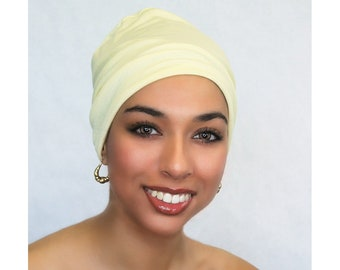 Lemon Sparkle Chemo Hat, Sleep Hat, Alopecia Cap, Cloche, Scarf Liner, Slouch Hat, Rayon Knit, Pretied Turban