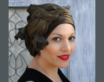 Turban Diva Dark Olive Green Turban Hat and Scarf Set, Head Wrap, Alopecia Head Scarf, Chemo Hat, Hat & Scarf Set