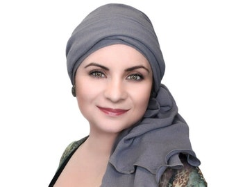 Turban Diva Steel Gray Chemo Hat, Turban Hat, Head Wrap, Chemo Hat, Alopecia Scarf, Cotton Gauze Hat & Scarf Set, Gift for Her