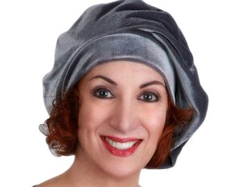 Oversize 13 inch Beret, Gray Velvet Beret, French Beret, Large Beret, Slouchy Hat, Chemo Hat, Alopecia Hat, Boho