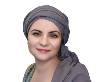 Gray Cotton Turban, Head Wrap, Chemo Hat, Head Wrap, Cotton Gauze Turban, Alopecia Scarf, Boho, Gypsy, One Piece Fitted